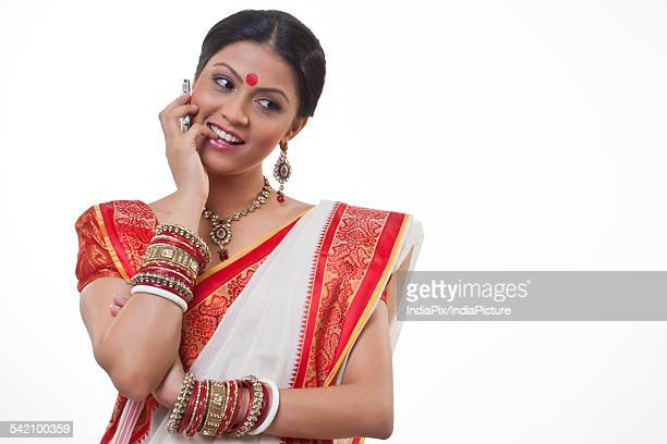 Bengali woman talking on a mobile phone