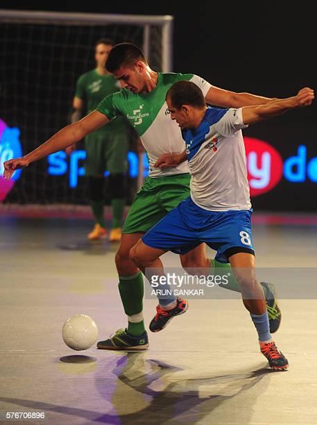 Bengaluru 5's Jonathan plays against the Goa 5's Adonias during their Premier Futsal Football League match in Chennai on July 17 2016 / AFP / ARUN...