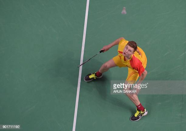 Bengaluru Blasters player Viktor Axelsen of Denmark plays a shot against North Eastern Warriors player Tzu Wei Wang of Taiwan during their Premier...
