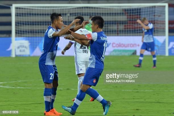 Bengaluru FC player Kumam Udanta Singh celebrates the first goal scored by captain Sunil Chhetri during the Hero Indian Super League football...