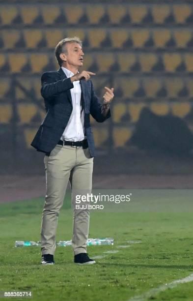 Bengaluru FCs head coach Albert Roca reacts during the Indian Super League football match between Northeast United FC and Bengaluru FC at the Indira...