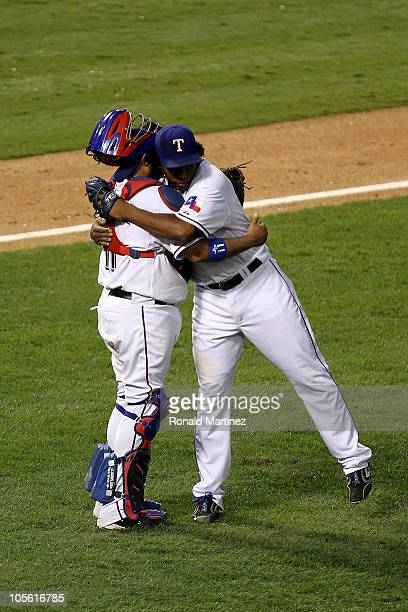 Bengie Molina and Neftali Feliz of the Texas Rangers celebrate after they won 72 against the New York Yankees in Game Two of the ALCS during the 2010...