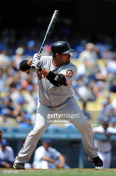 Bengie Molina of the San Francisco Giants at bat against the Los Angeles Dodgers at Dodger Stadium on April 18 2010 in Los Angeles California