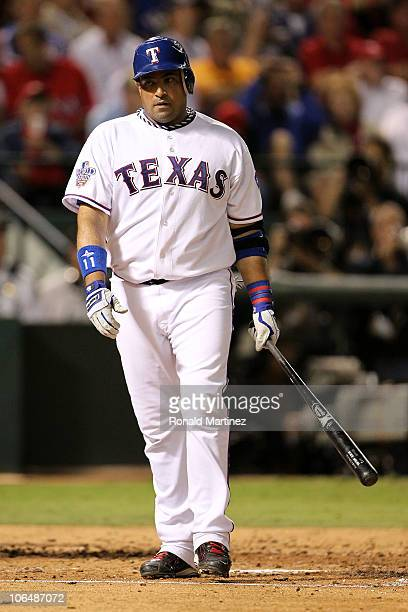 Bengie Molina of the Texas Rangers reacts after he struck out against the San Francisco Giants in Game Five of the 2010 MLB World Series at Rangers...