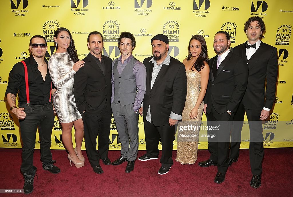Benhur Sito Barrero, Crystal Cubria, Oscar Torre, David Lago, Jorge 'Jokes' Yanes, Belkys Galvez, Andres Dominguez and Vicky Mueller attend 'Eenie Meenie Miney Moe' Premiere during the 2013 Miami International Film Festival at Gusman Center for the Performing Arts on March 7, 2013 in Miami, Florida.