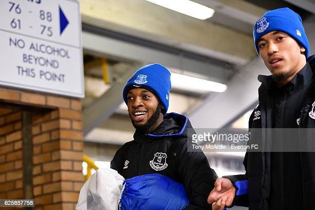 Beni Baningime and David Henen arrive for the Everton in the Community Sleepover Event at Goodison Park on November 25 2016 in Liverpool England