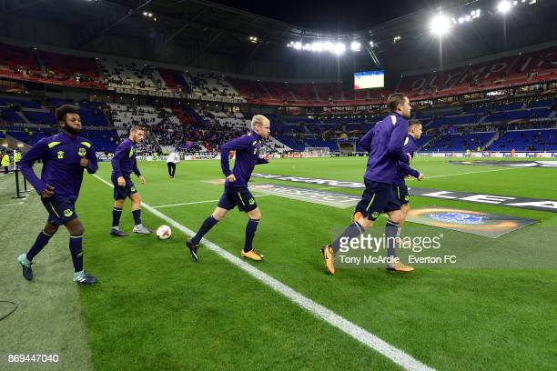 Beni Baningime and Davy Klaassen of Everton before the UEFA Europa League match between Olympique Lyon and Everton at Groupama Stadium on November 2...