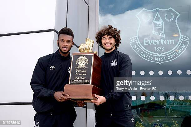 Beni Baningime and Delial Brewster of Everton FC U18s holding the Dallas Cup as they return to Finch Farm after winning The Dallas Cup on March 29,...