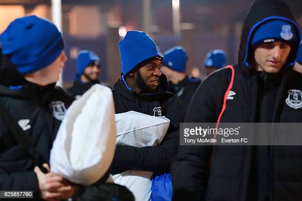 Beni Baningime and Jack Bainbridge arrive for the Everton in the Community Sleepover Event at Goodison Park on November 25 2016 in Liverpool England