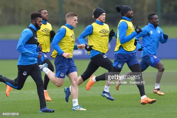 Beni Baningime Cuco Martina Jonjoe Kenny Tom Davies Yannick Bolasie and Idrissa Gueye during the Everton FC training session at USM Finch Farm on...