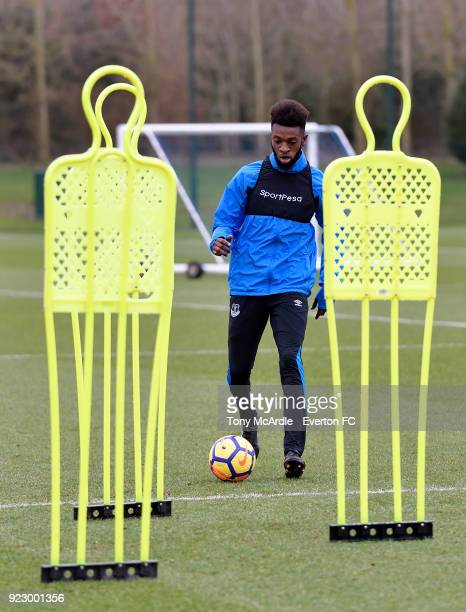 Beni Baningime during the Everton FC training session at USM Finch Farm on February 21 2018 in Halewood England