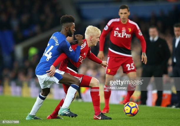 Beni Baningime of Everton and Will Hughes of Watford battle for possession during the Premier League match between Everton and Watford at Goodison...