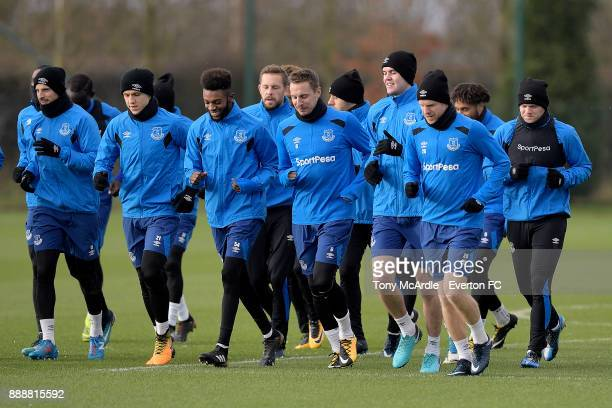 Beni Baningime Phil Jagielka Michael Keane and team mates during the Everton FC training session at USM Finch Farm on December 9 2017 in Halewood...