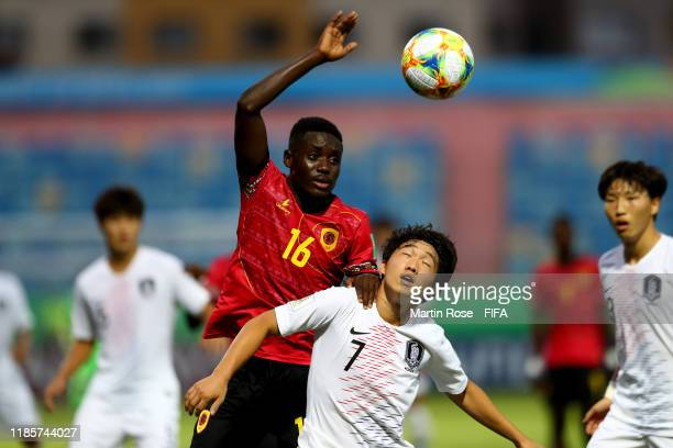 Beni of Angola challenges Yonghak Kim of Korea Republic during the FIFA U-17 World Cup Brazil 2019 round of 16 match between Angola and Korea...