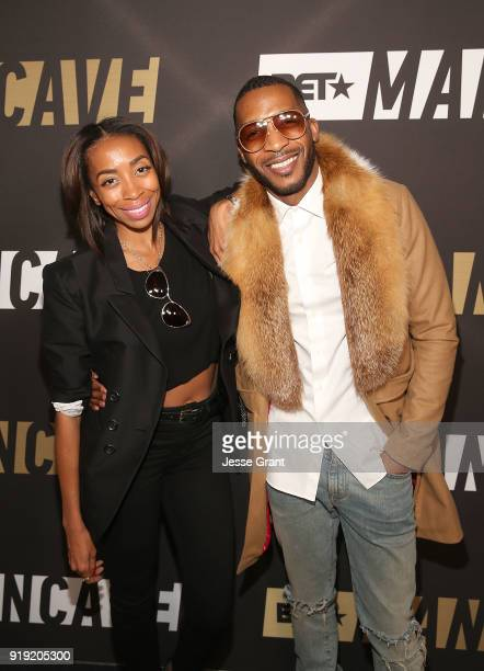 Benicia Williams and Enitan Bereola attend BET Network's Mancave Event at Goya Studios on February 16 2018 in Los Angeles California