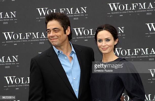 Benicio Del Toro and Emily Blunt attend a photocall for 'The Wolfman' at La Casa Del Cinema on January 27 2010 in Rome Italy