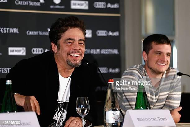 Benicio del Toro and Josh Hutcherson attend the 'Escobar Paradise Lost' Press Conference during Day 4 of Zurich Film Festival 2014 on September 28...