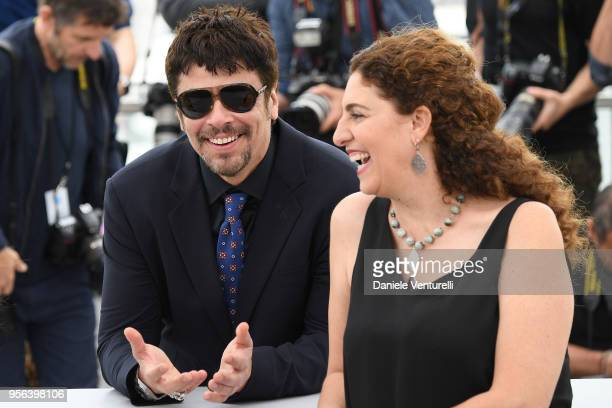 Benicio Del Toro and jury members Annemarie Jacir attend the Jury Un Certain Regard photocall during the 71st annual Cannes Film Festival at Palais...