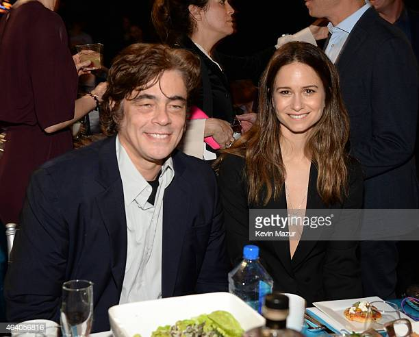 Benicio del Toro and Katherine Waterston attend the 2015 Film Independent Spirit Awards at Santa Monica Beach on February 21 2015 in Santa Monica...