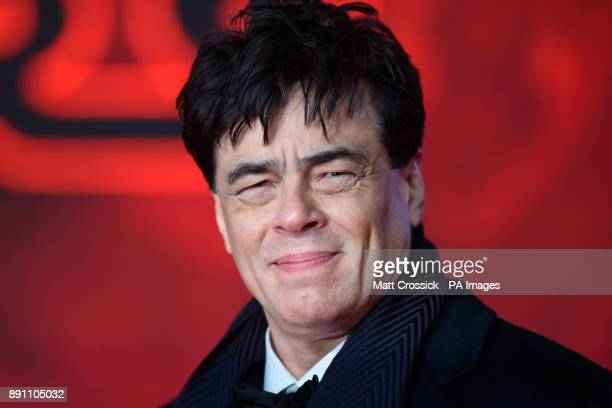 Benicio del Toro attending the european premiere of Star Wars The Last Jedi held at The Royal Albert Hall London Picture date Tuesday December 12...