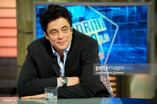 "Benicio del Toro attends ""El Hormiguero"" Tv show at Vertice Studio on September 27, 2012 in Madrid, Spain."