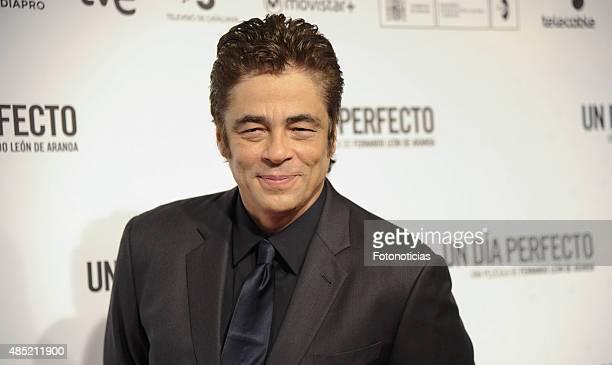 Benicio del Toro attends the 'A Perfect Day' Premiere at Palafox Cinema on August 25 2015 in Madrid Spain