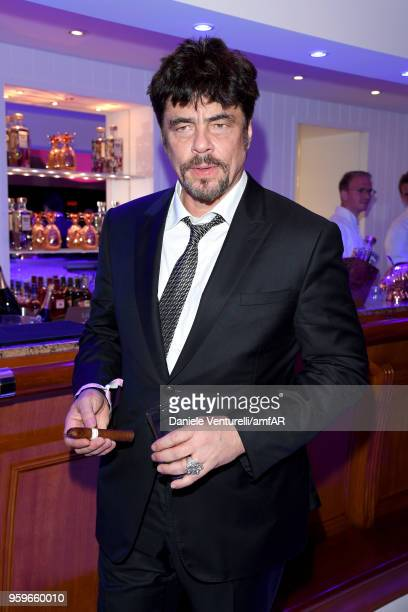 Benicio Del Toro attends the amfAR Gala Cannes 2018 after party at Hotel du CapEdenRoc on May 17 2018 in Cap d'Antibes France