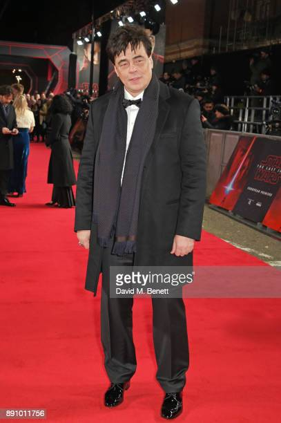 Benicio del Toro attends the European Premiere of 'Star Wars The Last Jedi' at the Royal Albert Hall on December 12 2017 in London England