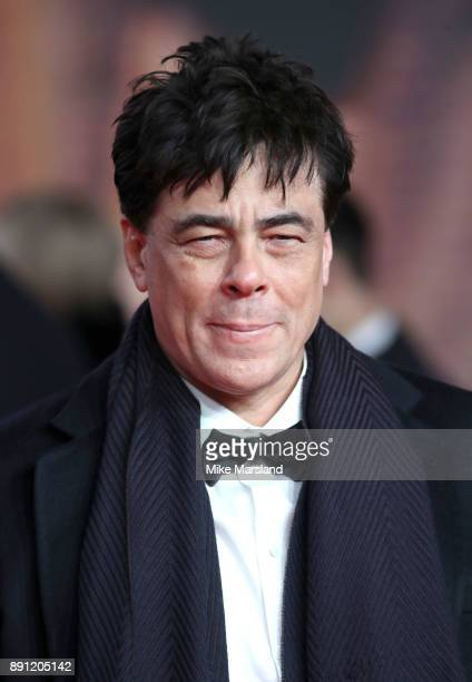 Benicio Del Toro attends the European Premiere of 'Star Wars The Last Jedi' at Royal Albert Hall on December 12 2017 in London England