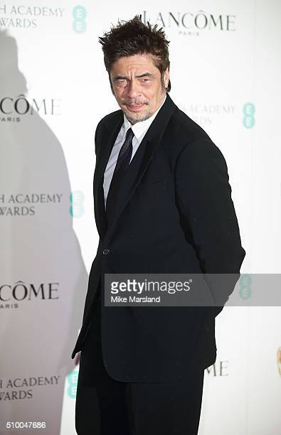 Benicio Del Toro attends the Lancome BAFTA nominees party at Kensington Palace on February 13 2016 in London England