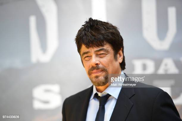 Benicio Del Toro attends the Sicario Day Of The Soldado Photo Call at Four Seasons Hotel Los Angeles at Beverly Hills on June 14 2018 in Los Angeles...