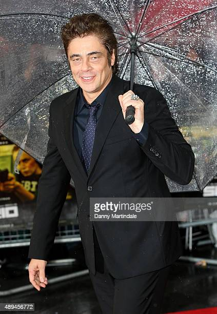 Benicio Del Toro attends the UK Premiere of 'Sicario' at Empire Leicester Square on September 21 2015 in London England