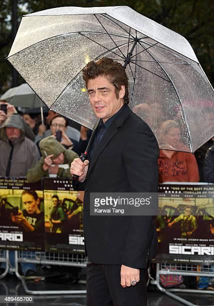Benicio del Toro attends the UK Premiere of 'Sicario' at Empire Leicester Square on September 21 2015 in London England