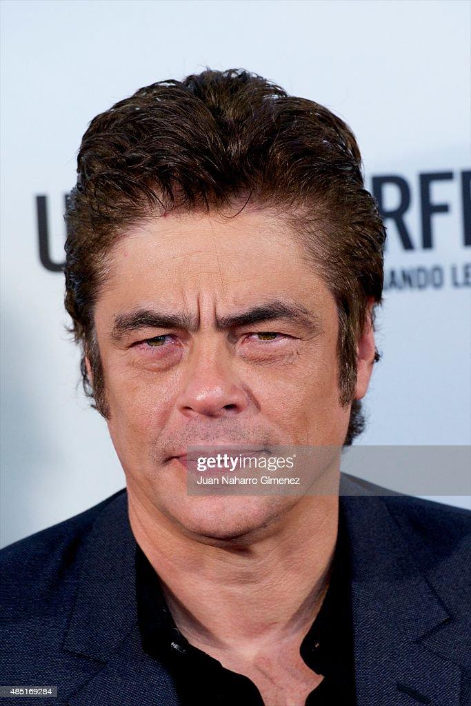 Benicio del Toro attends 'Un Dia Perfecto' photocall at Villamagna Hotel on August 25, 2015 in Madrid, Spain.