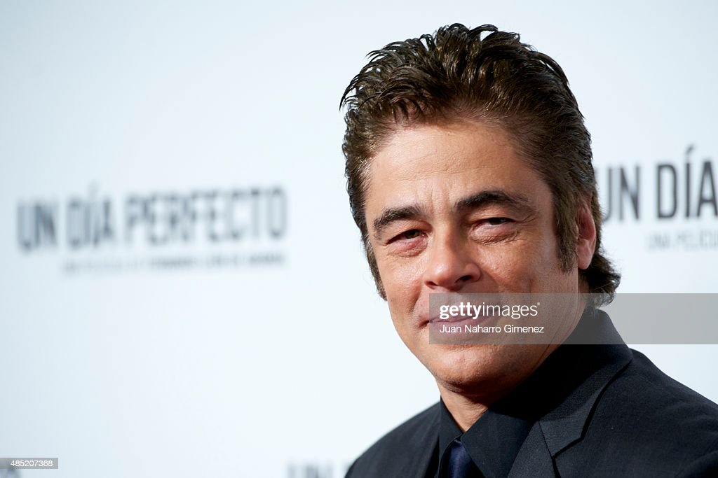 Benicio del Toro attends 'Un Dia Perfecto' premiere at Palafox Cinema on August 25, 2015 in Madrid, Spain.