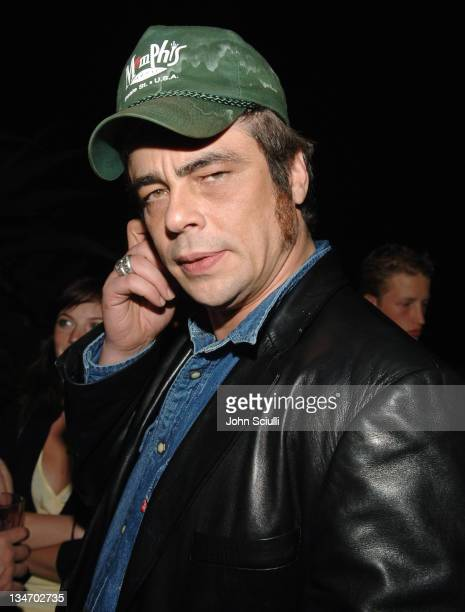 Benicio Del Toro during 2005 Cannes Film Festival Jana Water Presents Party Inside at The Manray House in Cannes France