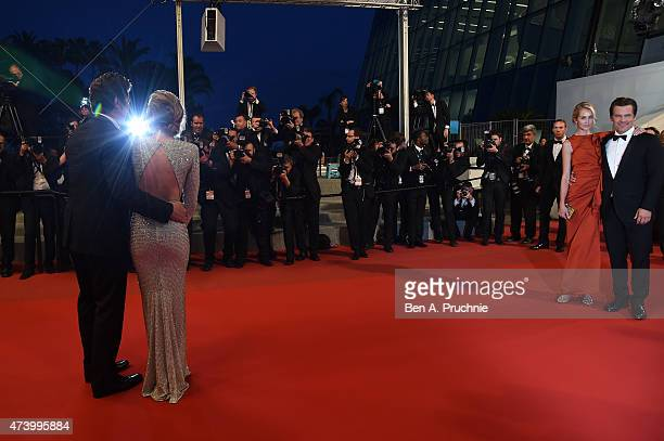 Benicio Del Toro Emily Blunt Kathryn Boyd and Josh Brolin leave the Premiere of Sicario during the 68th annual Cannes Film Festival on May 19 2015 in...