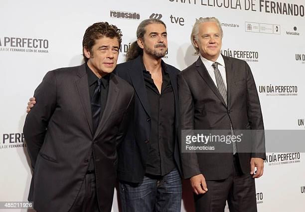 Benicio del Toro Fernando Leon de Aranoa and Tim Robbins attend the 'A Perfect Day' Premiere at Palafox Cinema on August 25 2015 in Madrid Spain