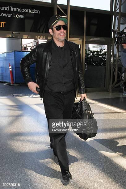 Benicio Del Toro is seen at LAX on April 12 2016 in Los Angeles California