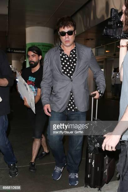 Benicio Del Toro is seen at LAX on June 20 2017 in Los Angeles California