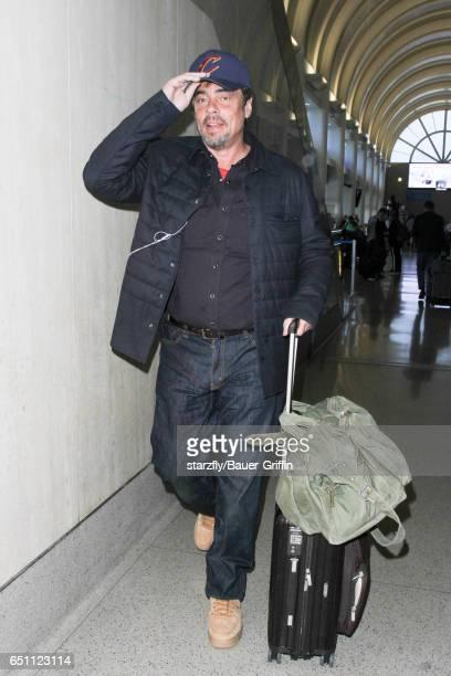 Benicio Del Toro is seen at LAX on March 09 2017 in Los Angeles California