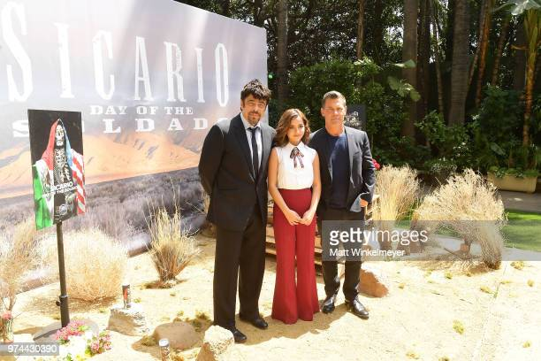 Benicio Del Toro Isabela Moner and Josh Brolin attend the Sicario Day Of The Soldado Photo Call at Four Seasons Hotel Los Angeles at Beverly Hills on...