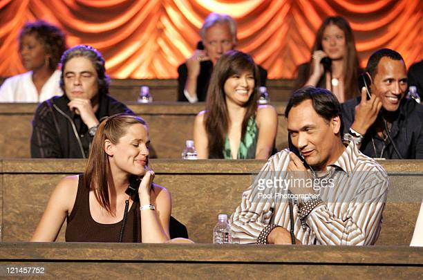 Benicio Del Toro Jennifer Garner Jimmy Smits and The Rock at the phone bank during the Shelter from the Storm A Concert for the Gulf Coast the live...