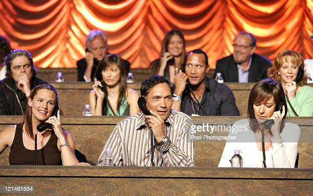 Benicio Del Toro Jennifer Garner Jimmy Smits The Rock Allison Janney and Reba McEntire at the phone bank during the Shelter from the Storm A Concert...