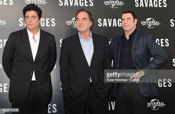 Benicio Del Toro, Oliver Stone and John Travolta attend a photo call for Savages at Mandarin Oriental Hotel.