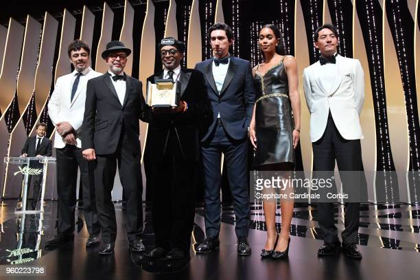 Benicio Del ToroBarry Alexander Brown Director Spike Lee with the Grand Prix award for 'BlacKkKlansmanAdam Driver Laura Harrier and Jury member Chang...