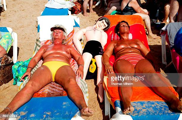 Benidorm Alicante British turists on the beach