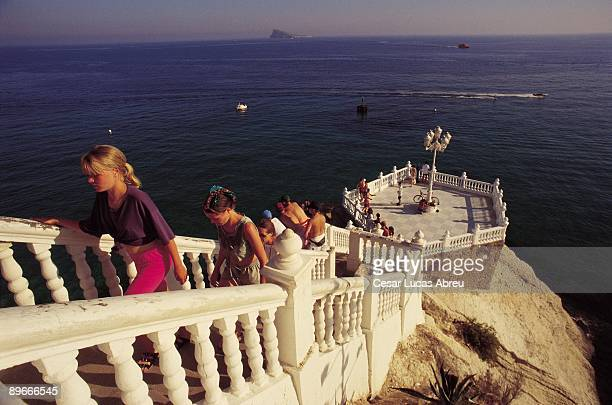 Benidorm Alicante Tourists in the mirador most popular of this city the biggest tourist center in the Mediterranean