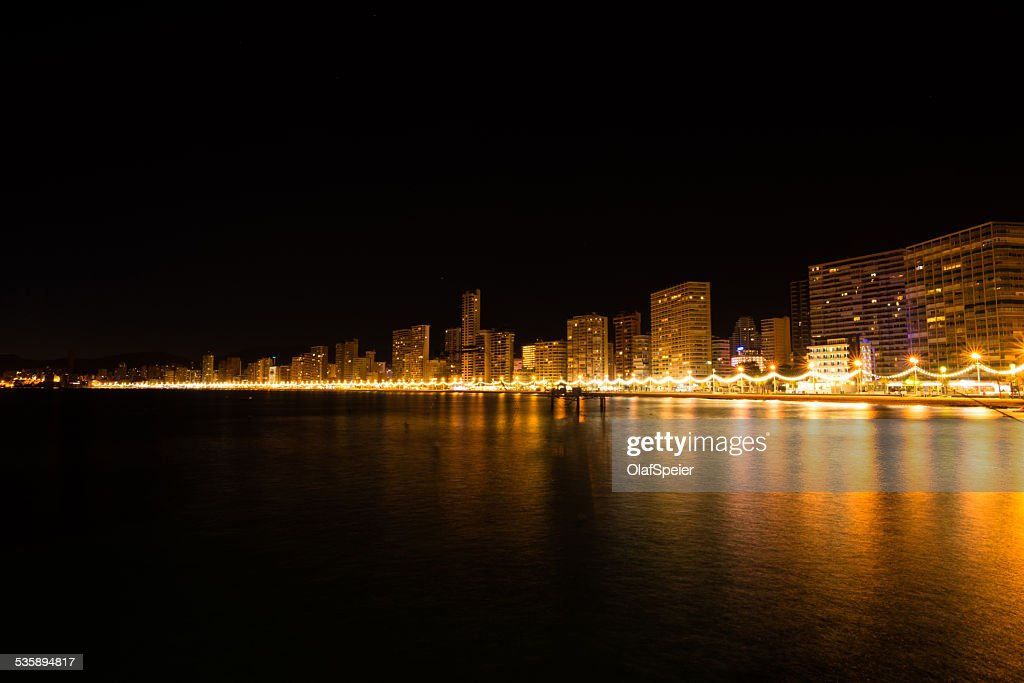 Benidorm at night : Bildbanksbilder