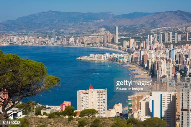 Benidorm Costa Blanca Alicante Province Spain Overall view showing Levante beach foreground and Poniente beach in background